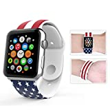 for Apple Watch Band,Voberry® Soft Silicone Sport Style Replacement Band for Apple Wrist Watch for Women Girls (38mm, US Pattern )