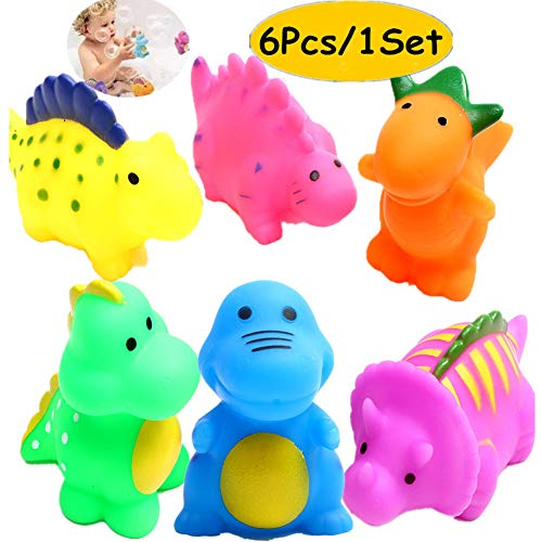 (J-BgPink Bathtub Toys Dinosaur Baby Bath Toys Christmas Kids Fun Squirt Toys Floating Bathroom Toys Assorted Colors)