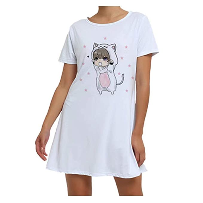Camisón Vestido Mujer Verano Manga Corta Pijamas Mujer ...