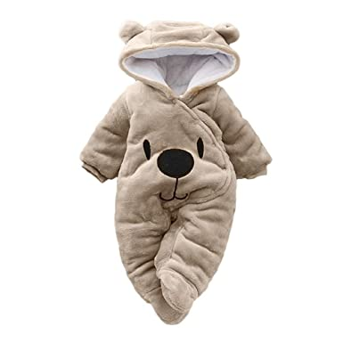 1c8e023fb Robemon Child Kids Costume Baby Girls Newborn Boy Solid Cartoon Bear Velvet  Hooded Jumpsuit Romper Clothes  Amazon.co.uk  Clothing