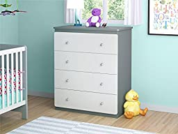 Cosco Products Willow Lake 4-Drawer Dresser, Light Slate Gray/White Stipple