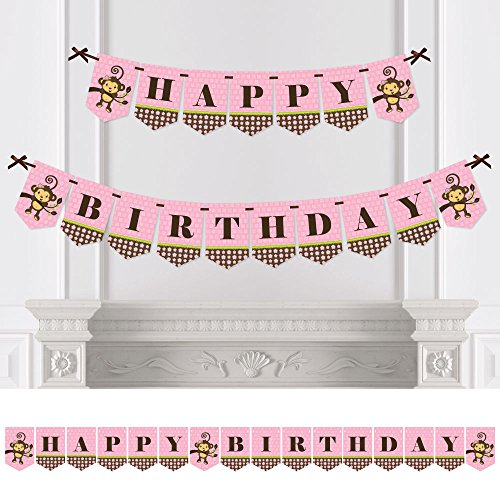 Monkey Happy Birthday (Big Dot of Happiness Pink Monkey Girl - Birthday Party Bunting Banner - Pink Party Decorations - Happy Birthday)