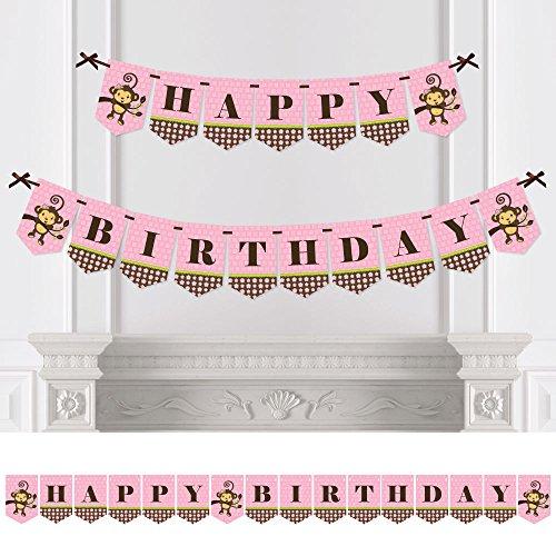 Birthday Monkey Happy (Big Dot of Happiness Pink Monkey Girl - Birthday Party Bunting Banner - Pink Party Decorations - Happy Birthday)