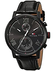 Tommy Hilfiger Mens ALDEN Quartz Stainless Steel and Leather Casual Watch, Color:Black (Model: 1791310)