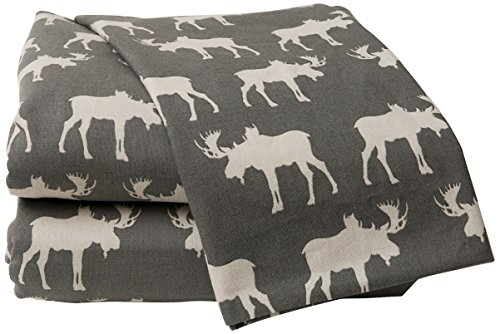 La Rochelle Moose Flannel Sheet Set Grey Twin,