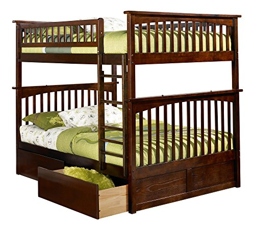Columbia Bunk Bed with 2 Flat Panel Bed Drawers, Full Over Full, Antique Walnut (Youth 2 Drawer)