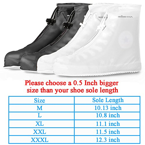 Premium Reusable Boot & Shoe Waterproof Covers, Slip-resistant | Durable, Water Resistant | Adjustable Zippered Over Shoes Slip Protector for Men and Women SMLXLXXL (XL: 11.10 inch, Black) by Zushka (Image #1)