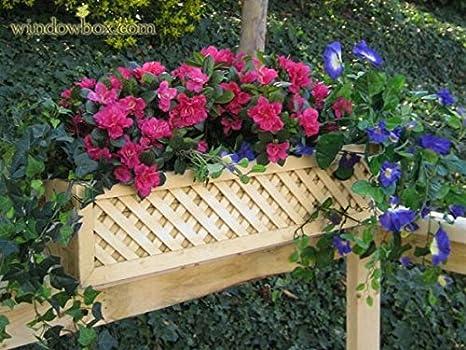 Amazon Com 32 Inch Cedar Lattice Flower Box For Rail Garden Outdoor