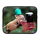 Jingclor Business Briefcase Sleeve Pig Drink Shopping Hat Laptop Sleeve Case Cover Handbag For 15 Inch Macbook Pro/Macbook Air/Asus/Dell/Lenovo/Hp/Samsung/Sony/Women & Men