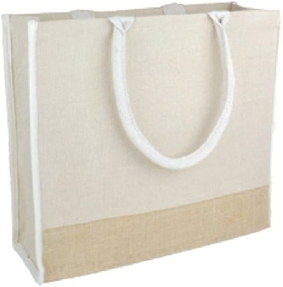 Reusable Jute Tote Bags w// Full Gusset Laminate Backing Daily Use Pack of 6