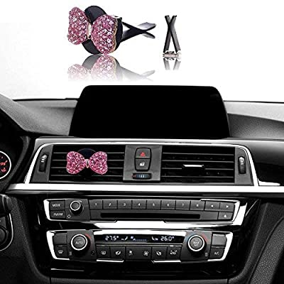 Bling Car Decor Car Air Vent Clip Charms, Pink Crystal Bow Interior Car Accessory, Women Fashion Car Decoration Charms, Rhinestone Car Bling Accessories (Pink Bow): Automotive