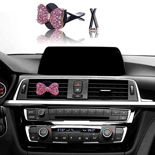 Air Pink Bow - Bling Car Decor Car Air Vent Clip Charms, Pink Crystal Bow Interior Car Accessory, Women Fashion Car Decoration Charms, Rhinestone Car Bling Accessories (Pink Bow)