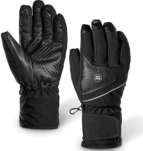 EFFUN Ski Gloves, Winter Ski Gloves for Men Women, Double Layer Thicken Warm Waterproof Snowboard Gloves for Cold Weather Outdoor