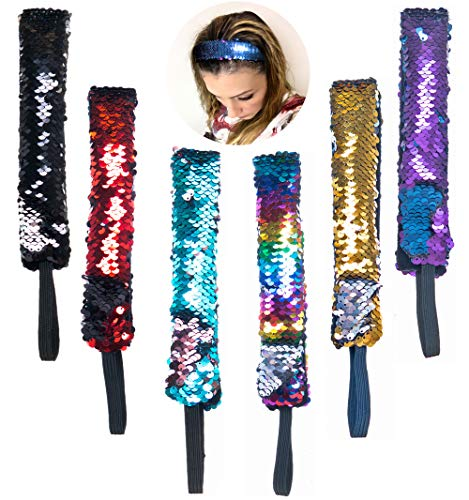 Hair Accessories for Girls and Women 6 PCs - Mermaid Sequin Sparkly Glitter Headbands with Elastic Cord - Reversible Color Changing Flip Sequins Wide Headband - Mermaid Party Favors – Party Supplies -
