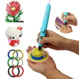 CCTREE Low Temperature 3D Pen for kids With USB Cable and 6 Rolls PCL Filament For Kids Art & Craft Making (Blue)