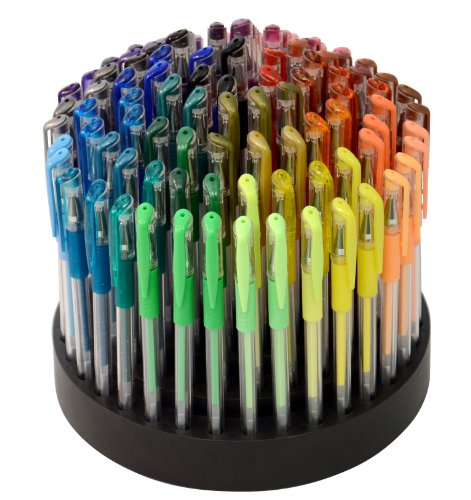 TEKwriterUSA Gelwriter Gel Pen Set with Rotating Stand, 100-Count (27131-D), Office Central