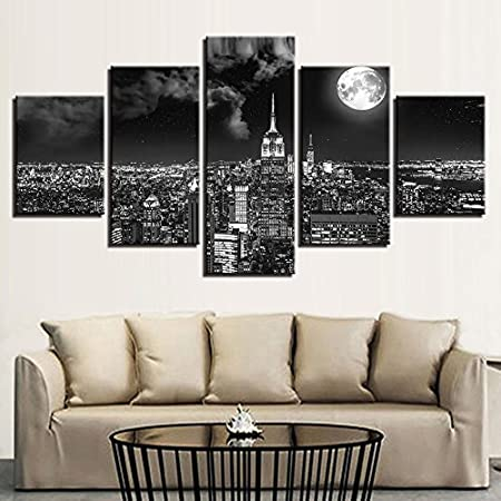Cuadro en lienzo póster arte de la pared imagen 5 surrealista noche ciudad Mingyue paisaje pintura decoración sala de estar