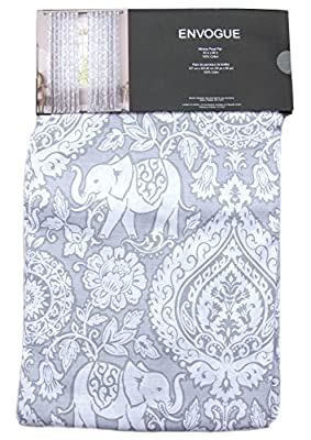 Mandala Elephant Pair Window Panels 50 by 96-inch Set of 2 Floral Paisley Scrolls Medallions Window Curtains Hidden Tabs Grey White Gray