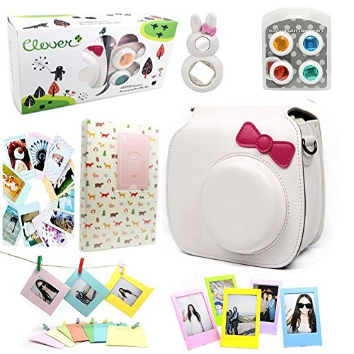 CLOVER 7 in 1 Accessory Bundles Set For Fujifilm Instax Mini 8 Instant Camera (White Bow Case Bag/ Album/ Colorful Filter/ Close-Up Lens / Wall Hanging Frame/ Photo Frame/ Sticker Borders)