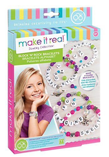 Make It Real Block n' Rock Bracelets. DIY Alphabet Letter Beads & Charms Bracelet Making Kit for Girls. Arts and Crafts Kit to Design and Create Unique Tween Bracelets with Letters, Beads & Charms - Charm Bracelet Craft Kit