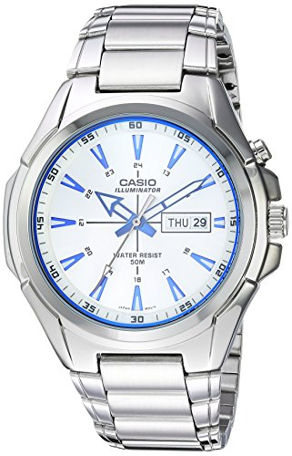 Casio Men's Super Illuminator Quartz Watch with Stainless-Steel Strap, Silver, 21 (Model: MTP-E200D-7A2VCF)