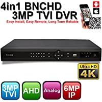 OWLTECH 16 Channel 4in1 3MP BNCHD TVI DVR Support Ultra 4K TV ( 3MP TVI / 1080P AHD / 960H Analog / 6MP IP ) Easy Install, Easy Remote, Long Term Reliable