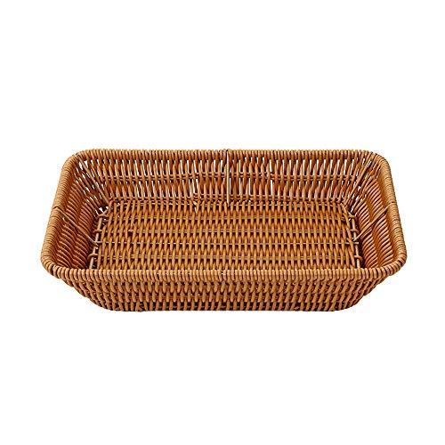 Hide on bush Coffee Wicker Shallow Storage Basket Drawer Bedroom Kitchen Living Room Office Lounge (B)