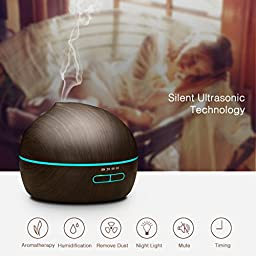 VicTsing 300ml Essential Oil Diffuser Ultrasonic Aroma Wood Grain Humidifier with 7 Color LED Lights for Office Home Room Yoga Spa
