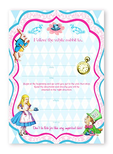 Alice In Wonderland Classic - 10 Invitations + 10 Envelopes -