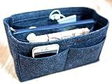 LUZEE Purse Organizer with Middle Zipper Fits Neverfull MM Speedy 30 In Bag Organizer For Handbag Tote (Dark Grey)