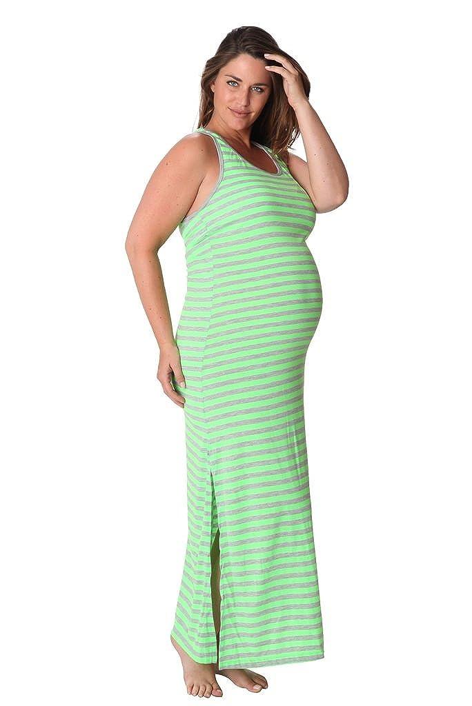 Ingear maternidad largo rayas Racer espalda Maxi tanque Vestido - Verde - : Amazon.es: Ropa y accesorios