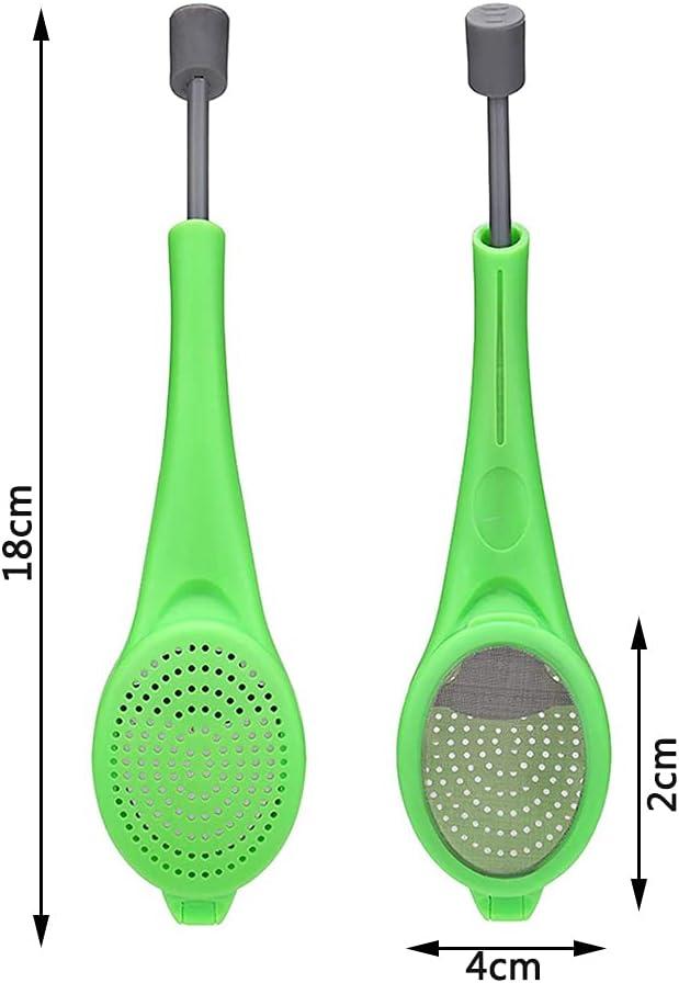 2 Piezas Infusor de T/é de Silicona Tazas y Teteras Verde Filtros para T/é Silicona Asa Extra/íble con Colador de Acero Inoxidable para T/é YeenGreen Colador de T/é De Hojas Sueltas T/é de Frutas