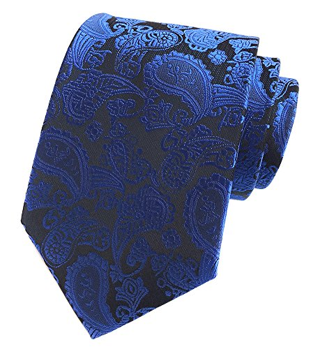 Elfeves Men Classic Royal Blue Silk Tie Casual Occasions Romantic Dating (Spot Woven Silk Mens Tie)