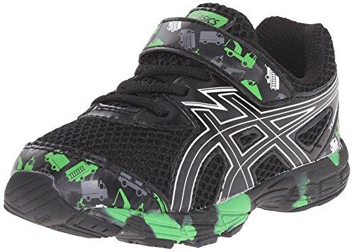 ASICS Turbo TS Boys Running Shoe (Toddler), Black/White/Green, 5 M US Toddler