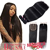 Brazilian Straight Hair with Closure 10A 100% Virgin Unprocessed Human Remy Hair Weave 3 Bundles with Middle Part Lace Closure by B-Fashion Hair (24 26 28+20 closure)