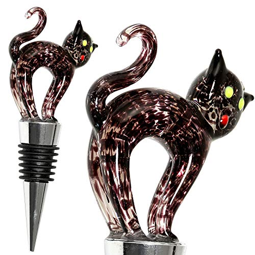 Black Cat Halloween Wine Bottle Stopper - Decorative, Colorful, Unique, Handmade, Eye-Catching Glass Cat Wine Stoppers - Wine Accessories Gift for Host/Hostess - Wine Corker/Sealer
