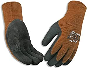 Kinco 1787 Frostbreaker Foam Latex Form Fitting Thermal Gripping Glove, Work, Large, Brown (Pack of 6 Pairs)