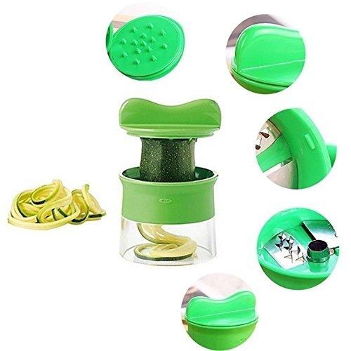 ღ Ninasill ღ Spiral Vegetable Fruit Slicer Cutter Grater Twister Peeler Kitchen Gadgets Tools (Green)