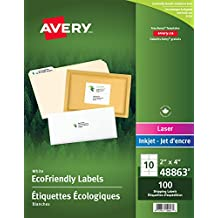 """Avery White EcoFriendly Shipping Labels, 2"""" x 4"""", White, Rectangle, 100 Labels, Permament (48863) Made in Canada"""