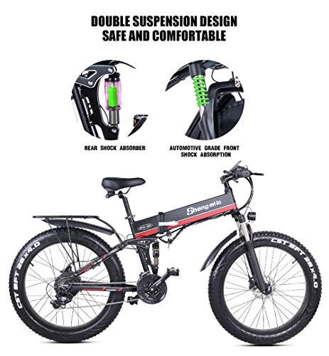 26 Pollici Fat Tire Electric Bike 1000W 48V Snow E-Bike Shimano 21 velocità Beach Cruiser Mens Women Mountain e-Bike… 4 spesavip