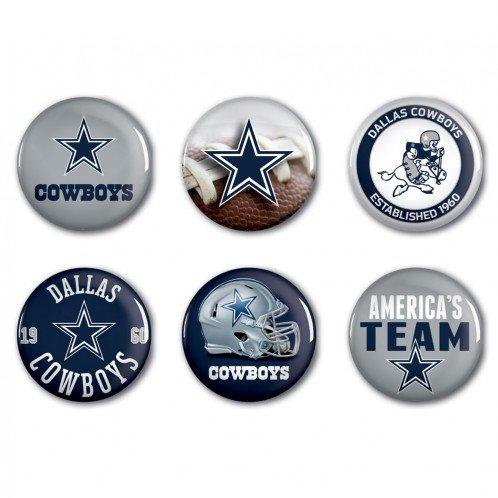 NFL Dallas Cowboys WCR97916301 Round Button (6 Pack), - Pins Nfl