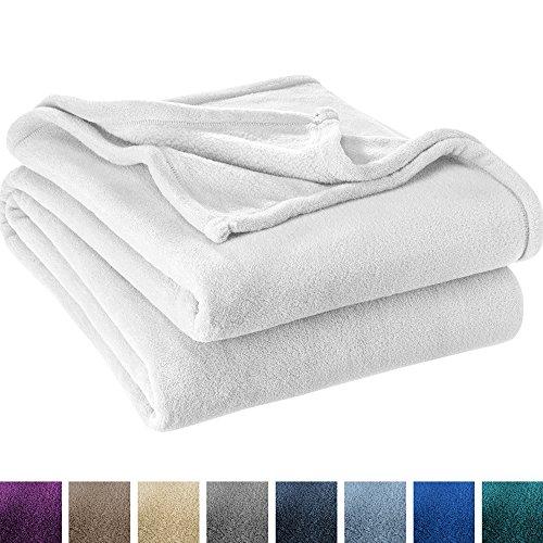 Ultra Soft Microplush Velvet Blanket - Luxurious Fuzzy Fleece Fur - All Season Premium Bed Blanket (King, White)