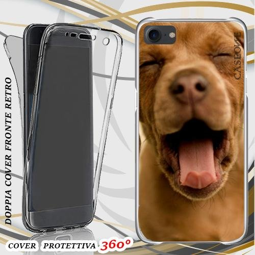 CUSTODIA COVER CASE CANE SONNO DOG PER IPHONE 7 FRONT BACK