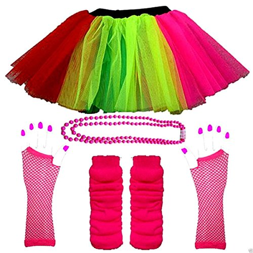 1980s NEON UV FANCY DRESS HEN PARTY TUTU FISHNET SKIRT GLOVES LEG WARMER & BEADS (UK 8-14, Multi) (80s Womens Fancy Dress)