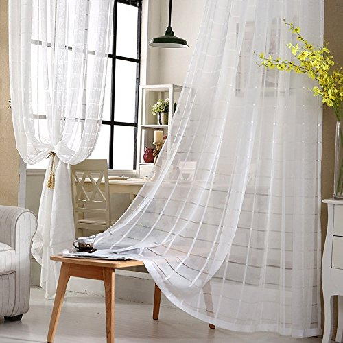 MinminTown(TM) New Arrival Modern and simple Voile Curtains Grid cotton linen Curtains Factory outlets (Curtain Outlet Factory)