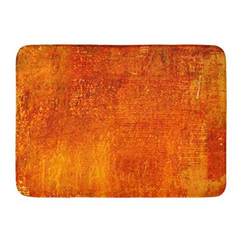 Koperororo Doormats Bath Rugs Outdoor/Indoor Door Mat Watercolor Burnt Abstract Monochrome Orange Graphic Red Blots Colorful Brush Bathroom Decor Rug 16