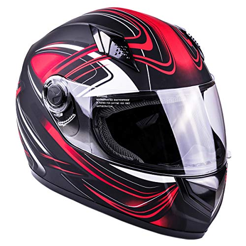 Typhoon Adult Full Face Motorcycle Helmet DOT (Matte Red, Small)