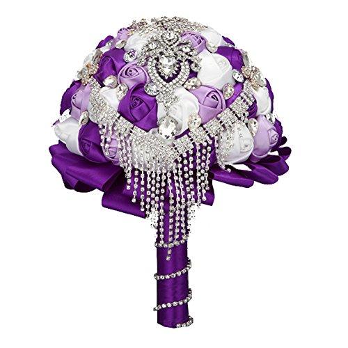 FAYBOX Handmade Rhinestone Brooch Stunning Tassel Wedding Bridal Bouquets PUR - Floral Bouquet Brooch