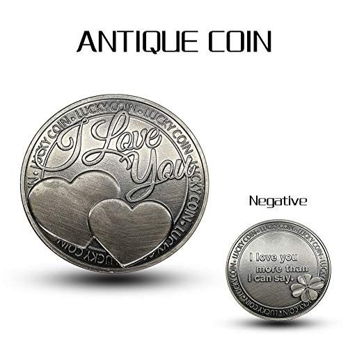 Leaftree Adornment Coin Collection Coin Emulation Round Commemorative Coin Game Currency Ornaments I Love You with Acrylic Box ()