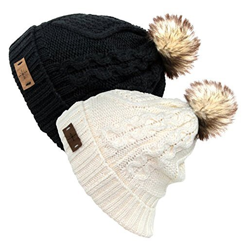 Fur Top Hat - Women's Faux Fur Pom Pom Fleece Lined Knitted Slouchy Beanie Hat (Black/White), 2-pack, One Size